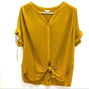 Caslon Yellow Button Down Front Tie Top Small